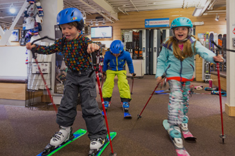 Children renting equipment at Four Mountain Sports